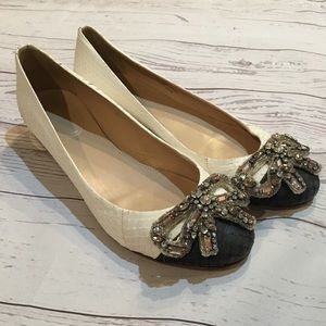 J. CREW COLLECTION Snakeskin Bow Leather Flats